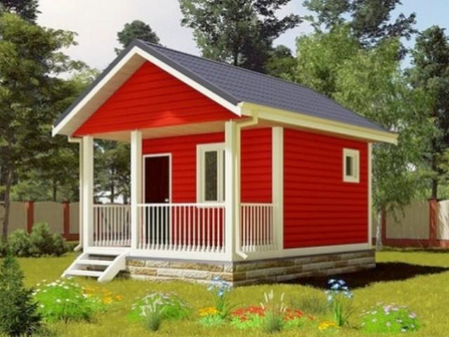 Дом дачный 6х6 м с верандой